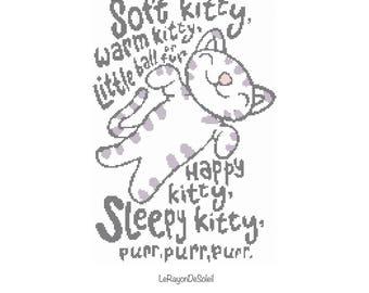 Soft kitty Cross stitch pattern, The big bang theory Sheldon crib song, PDF Instant download.