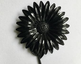 Vintage Brooch Enamel Flower Power Pin Gothic Black Large