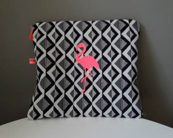 Cover make-up cotton reasons chevron black and white neon Flamingo thermofused