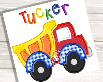 Dump Truck Applique - Construction Truck - Applique Design - Instant EMAIL With Download - 4 sizes - for Embroidery Machines