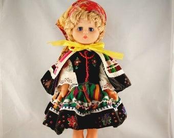 "Folk Art Doll, Vintage Collectible Doll, Plastic Poseable Doll, Folk Costume Doll, Handmade Folk Costume Doll, 19.5"" European Souvenir Doll"