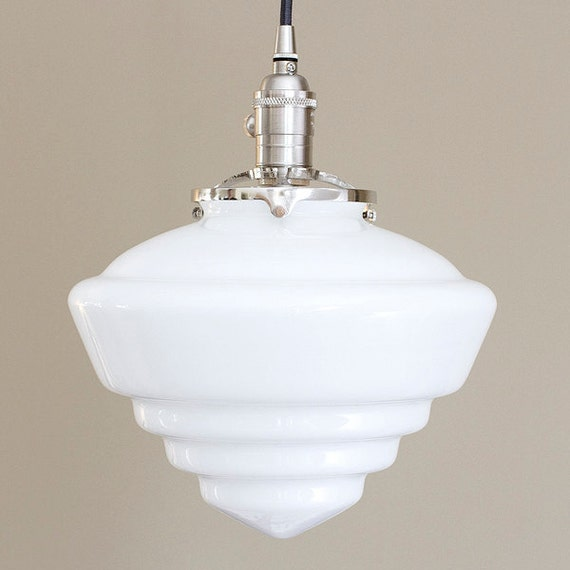 schoolhouse pendant light large glass pendant light fixture schoolhouse cone deco 28850