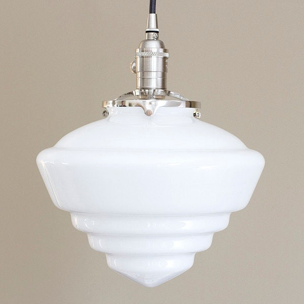 Large Glass Pendant Light Fixture Schoolhouse Cone Art Deco