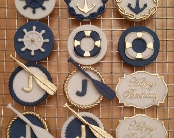 Edible natical themed cupcake toppers
