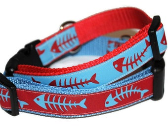 Blue and Red Bonefish Collar-Adjustable You choose color and Leash Option