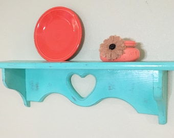 Distressed wood wall shelf, playe holder, turquoise blue aqua, shabby chic