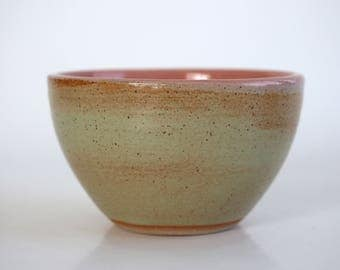 Small ceramic bowl mint and coral, handmade