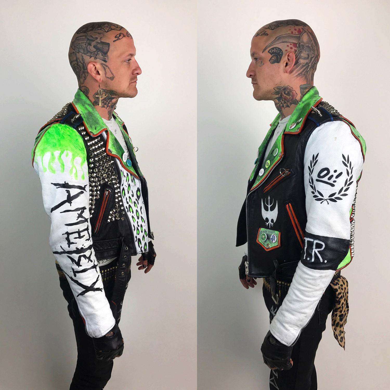 Studded Spiked White Leather Punk Jacket Mens Medium