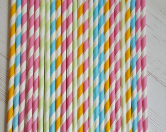 25 Striped Paper Straws - Pastel Mix