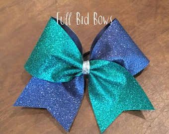 Cheer Bow - Teal and Navy Blue Glitter