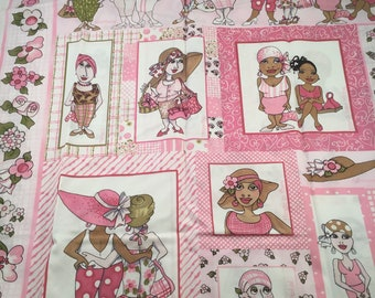 """Cotton Fabric Pink Ribbon Breast Cancer Awareness """"On the Mend"""" 1 Panel Measuring 46"""" Long X 23"""" Wide"""