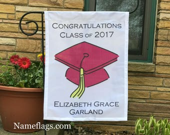 Personalized Graduation Flag, Garden or House Flag, Graduation Flag