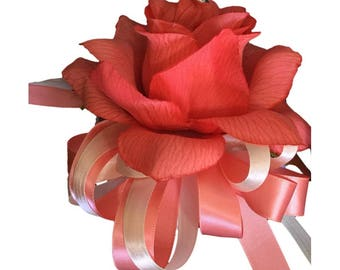 Wrist Corsage - Coral and Ivory Artificial Flowers