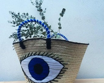 Blue Eye straw bag