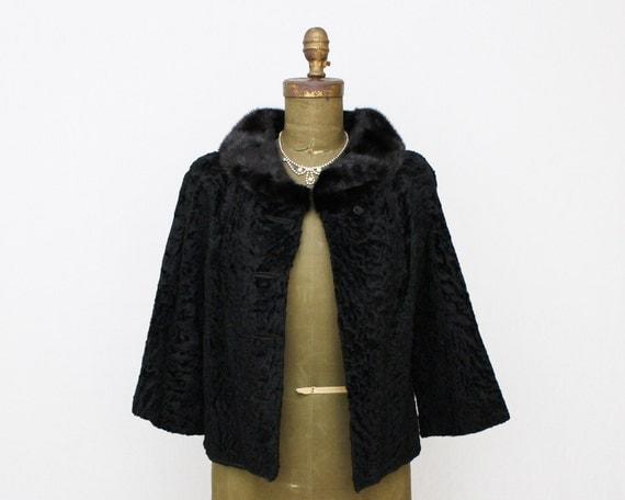 Black Persian Lambswool Coat - Vintage 1950s Mink Collar 3/4 Sleeve Short Jacket