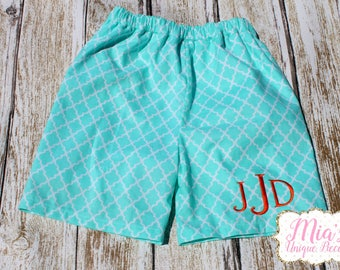 Toddler swim Short, Aqua Swim Shorts, Monogrammed Swim Trunks
