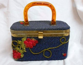 vtg Blue Tweed purse handbag w/embroidered Grapes/vines Faux tortoise shell handle lunch box style
