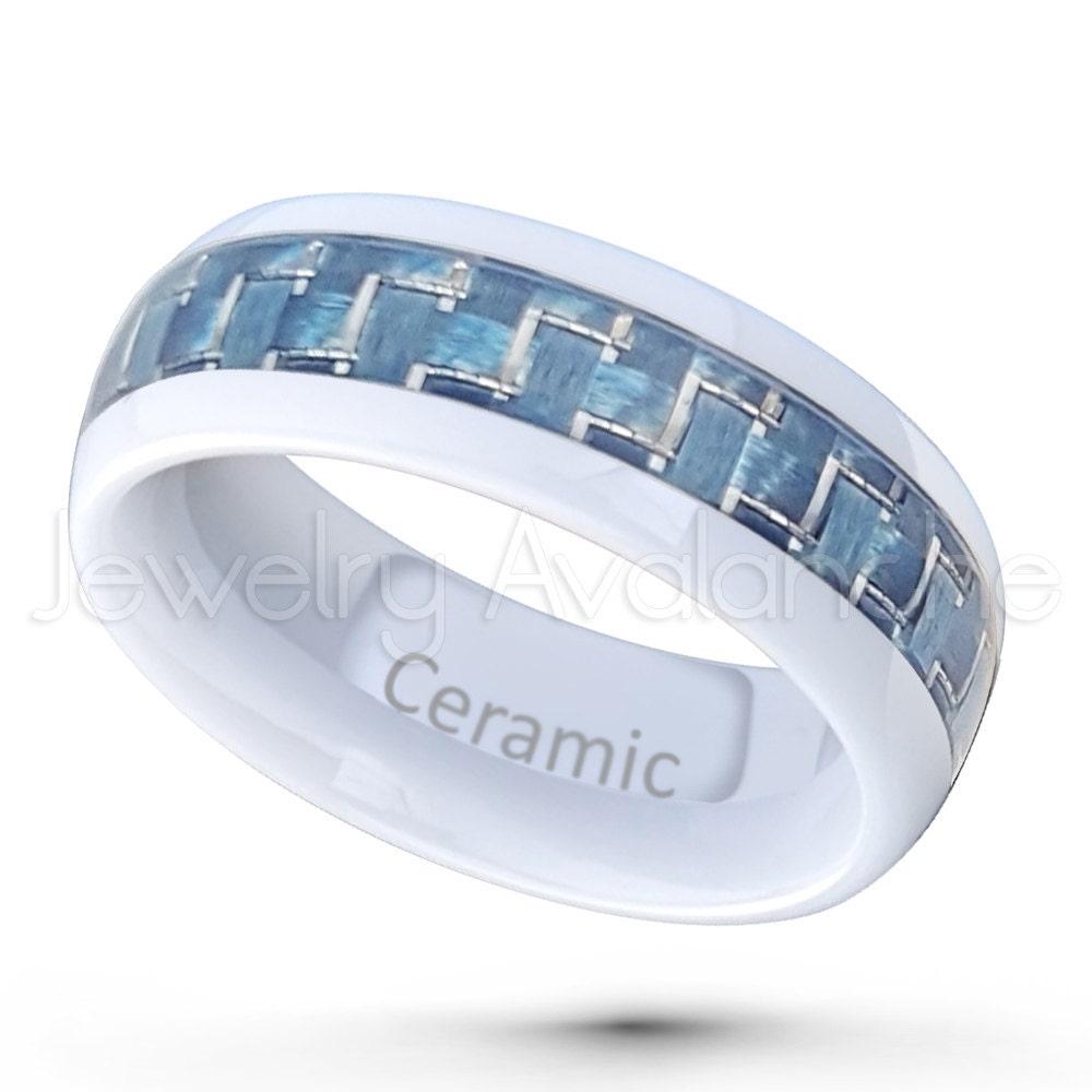 ceramic ring ceramic wedding band white ceramic w aqua blue