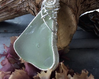 Ocean Blue Sea Glass Necklace Seafoam blue, Ocean Tumbled Sea Glass, Wire Weaved Pendant & Chain