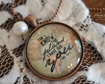 """Inspirational Necklace - Glass Dome Pendant Necklace - """"For I Know The Plans I Have For You"""" - FREE SHIPPING"""