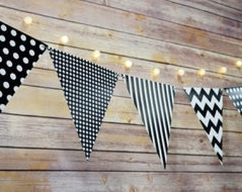 Black and white triangle flag pennant banner, printed mix triangle banner