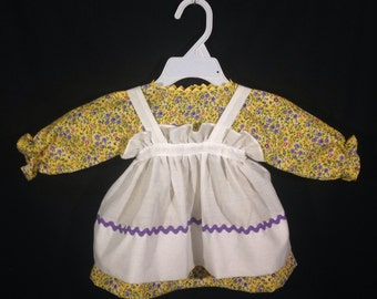 Dress and Apron for 25 INCH Raggedy Ann Doll; Yellow floral print dress with rickrack apron