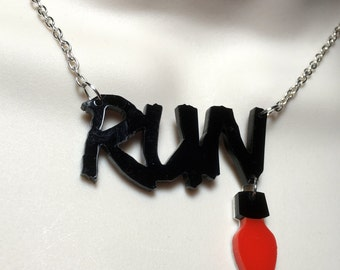 stranger things inspired 'RUN' necklace  with hanging Christmas light