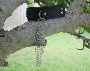 BDSM Collar with Chains PU Leather