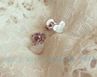 Sterling silver hammered finish heart stud earrings