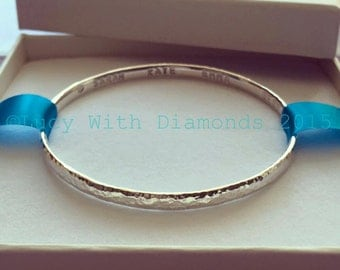 Sterling silver personalised bangle hammered finish