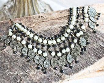 MARJAN statement necklace bronze cream short black
