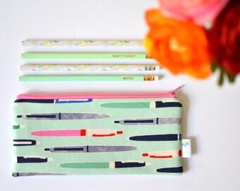 College Student Gift, Teacher Christmas Gift, Mint Pencil Pouch Organizer, Cute Pen Case for her, Pen Zipper Bag, Back to School Supplies