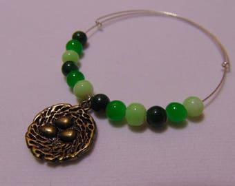 Birdsnest Charm Bracelet - green