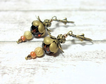 Earrings Brown BRONZE Flower Earrings