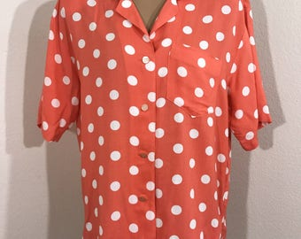 Vintage 80s Renee Adams Limited Polkadot Button Down Blouse Medium with shoulder pads.