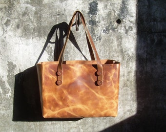 Leather Tote - Book Bag - Leather Shopping Tote - Reusable Grocery Bag - Leather Bag - Market Bag - Shopping Bag - Made in USA