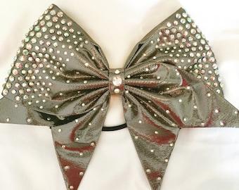 Gold on black shiny satin bow with AB crystal rhinestones
