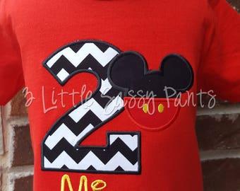 Mickey Mouse Birthday Shirt- Custom Mickey Birthday Shirt- Applique Boys Birthday Shirt- Black Chevron-Mickey Ears- Red Shirt