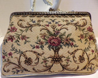 1970s Tapestry Purse Clutch Evening Bag Leather Metallic Gold  Thread Kiss Closure