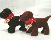 Personalized Labrador Puppy Ornament - MADE TO ORDER - Hand Stitched