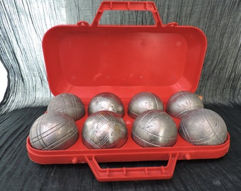 French Boules De Petanque In Presentation Case - Vintage Boules Balls Set of Eight - Outdoor Game of Bowling Balls - Wine Advertising Boules