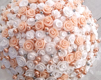 Bride Bouquet, Bride pearl Bouquet, Couture Fabric Flower Bouquet, Weddings, Flavors, Perfume, White, Bride, Wedding favors, Wedding gifts