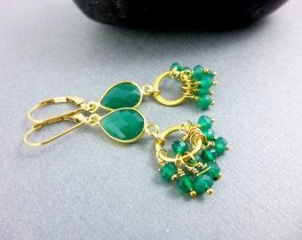 Green Onyx Heart Chakra Earrings, 14K Gold Fill, Green Gemstone Clusters, Healing Crystals, Chakra Energy Dangle Earrings