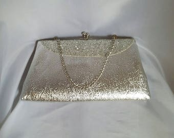 SHOP CLOSING 70% OFF Vintage 60s silver evening bag silver glitter evening bag vintage womens handbags