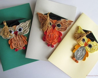 Owl Cards, Set of 3 Quilling Owl Cards, Graduation card, Kid birthday Cards, Blank birthday cards, Bird Card, Greeting card, Animal card