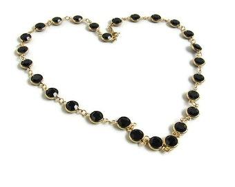 Black necklace. Black gold necklace. Swarovski links necklace. Black Swarovski necklace. Bezel crystal necklace. Crystal necklace swarovski
