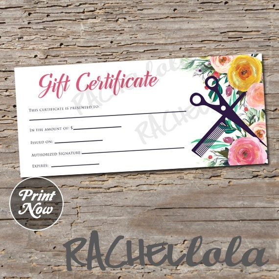 Hair salon watercolor floral printable gift certificate for Haircut gift certificate template