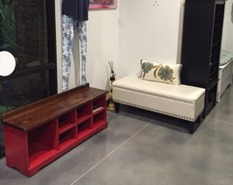 """48 """" Long Shoe Bench / Wood Cubbies Bench / Shoe Storage / Mudroom Organizer / Distressed Red Hallway Bench / Entryway Shoe Rack"""