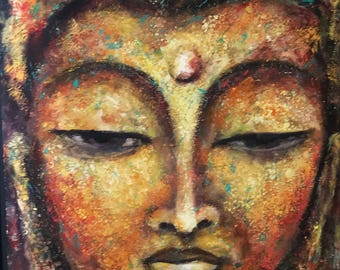 Buddha in Multicolours acrylic texture painting in print