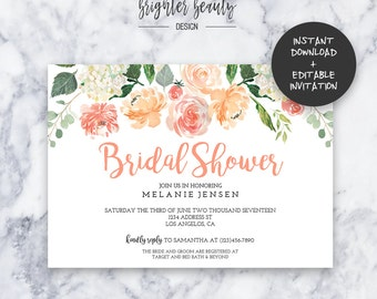 Peach Floral Bridal Shower Invitation | INSTANT DOWNLOAD | Editable PDF| Do It Yourself | Printable